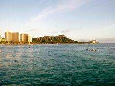 Surfers at Waikiki Beach Oahu, Hawaii