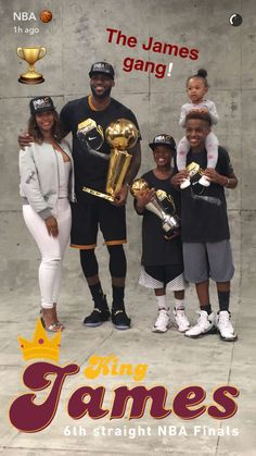 Lebron James and Family NBA Championship 2016