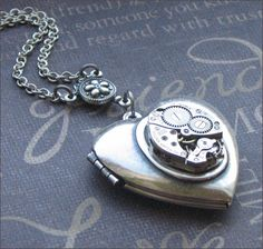 Silver Heart Locket Necklace - Enchanted Mechanical Heart - Handmade by TheEnchantedLocket