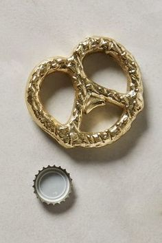 Anthropologie Gilded Pretzel Bottle Opener