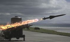 A Rapier missile speeds towards its target during a live firing exercise by 20 Commando Battery Royal Artillery at Benbecula in Scotland.