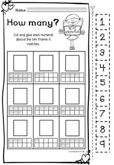 Valentine's Counting Worksheets (Kindergarten) Spelling Worksheets, Kindergarten Worksheets, Valentine Theme, Valentines, Counting Activities, Frame It, Teaching, Writing, Valantine Day