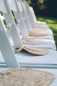 fans for an outdoor ceremony | Sean Money and Elizabeth Fay #wedding