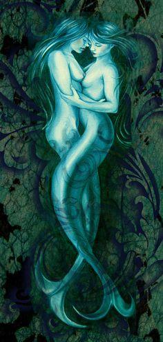 Nude mermaids  print of two mermaid lovers by AngelBlueArt on Etsy, $40.00