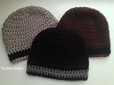 By Jenni Designs: Men's Chunky Stripe Beanie - free crochet pattern with link for matching scarf.