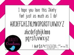 """Check out my new """"Skinty"""" Font at my TPT Store - BeauxTy Creations!!"""