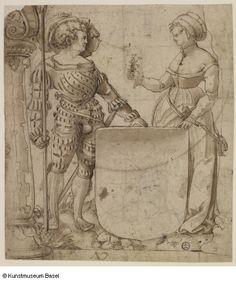 Niklaus Manuel gen. Deutsch (zugeschrieben / attributed to) Bern um 1484–1530 Bern Scheibenriss mit leerem Wappenschild, um 1520  Verso: Zwei konzentrische Kreise