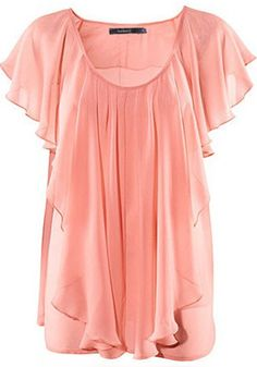 Pink Pleated Scoop Neck Lotus Sleeve Chiffon Blouse