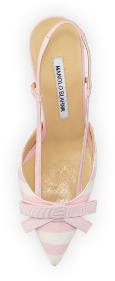 Manolo Striped Canvas Sling Back | LBV ♥✤ | KeepSmiling | BeStayBeautiful