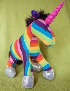 Rainbow Unicorn Plushie by EstherMouse on Etsy, £30.00