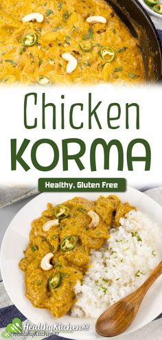 Chicken korma's always my family's favorite. Depicting the authentic ingredients of Indian cuisine, this healthy recipe lets you discover the flavor and aroma spectrum coming from all sorts of spices.  Don't forget to lighten it by siding the dish with fresh steamed vegetables. They're perfect for this gluten-free dish. #HealthyRecipes #Healthy #ChickenKorma #Chicken #Korma #GF #GlutenFree #HealthyKitchen101 Best Indian Recipes, Ethnic Recipes, Chicken Korma Recipe, Steamed Vegetables, Indian Dishes, Comfort Foods, Glutenfree, Spectrum, Don't Forget