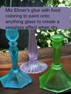 The best DIY projects & DIY ideas and tutorials: sewing, paper craft, DIY. Beauty Tip / DIY Face Masks 2017 / 2018 Mix Elmer's glue with food coloring to paint onto anything glass to create a seaglass effect when dry. Cute Crafts, Crafts To Make, Arts And Crafts, Paper Crafts, Diy Crafts, Pva Glue Crafts, Teen Crafts, Beach Crafts, Recycled Crafts