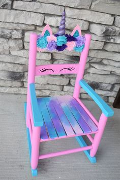 Hairstyles For Women In Painted Kids Chairs, Painted Rocking Chairs, Painted Furniture, Rocking Chair Redo, Painted Tables, Steel Furniture, Modern Furniture, Furniture Design, Unicorn Room Decor
