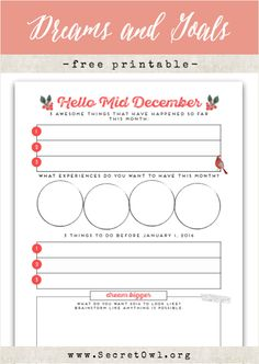 Free Printable Hello Mid-December at Secret OWL Society