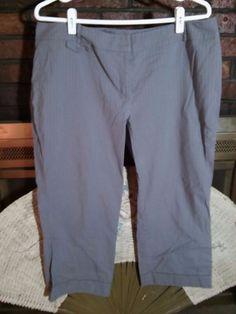 NEW YORK & CO  Capri's Crop Gray Pin Stripe  Cotton Blend Size 16 Back Pockets  #NewYorkCompany #CaprisCropped