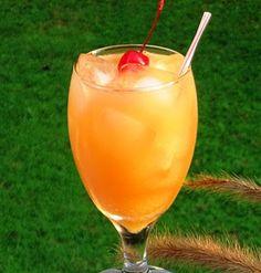 Sex on the Beach Cocktail  2 ounces Vodka  2 ounces Peach Schnapps  2 ounces Orange Juice  2 ounces Cranberry Juice  Cherry for garnish