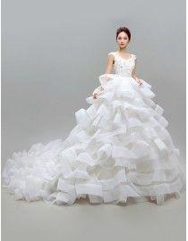 Gorgeous cap sleeves v-neck lace appliques swarovski beaded layered ruffles skirt court sweeping train wedding dress  5W-073