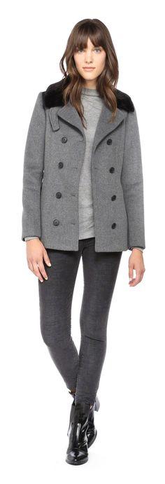 SOIA & KYO - KENSIE GREY DOUBLE BREASTED WOOL JACKET. WWW.SOIAKYO.COM #wool #womens #coat #soiakyo #jacket #fw14