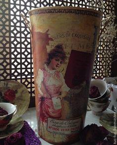 """Купить Кашпо """"Мэри"""" - 37 см - кашпо, ваза декоративная, ваза для сухоцветов, кашпо декупаж"""