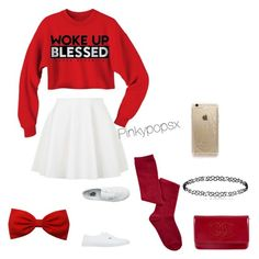 """""""Pretty In Red """" by pinkypopsx on Polyvore featuring Topshop, Vans, Chanel and Rifle Paper Co"""
