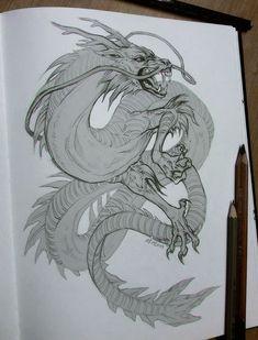 Drawing dragon pencil posts 39 Trendy ideas - Tattoo Thinks Chinese Dragon Drawing, Chinese Dragon Tattoos, Dragon Illustration, Illustration Vector, Design Dragon, Drawing Sketches, Art Drawings, Dragon Sketch, Dragon Artwork