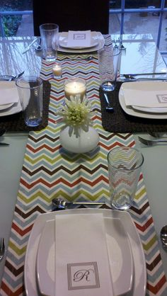 Perfect Mother's day gift..a table linen with the print of the season--zig zag or chevron pattern. chiquiita.etsy.com or chiquiita.blogspot.com
