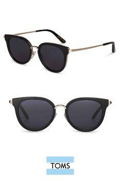 642e65ad707292 Oversized flat-lens cat-eye frames. Shiny Black Rey Sunglasses from TOMS add