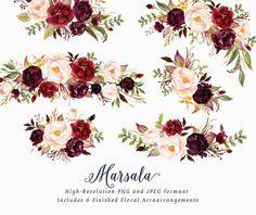 Watercolor floral Clip Art-Marsala/Individual PNG by GraphicSafari