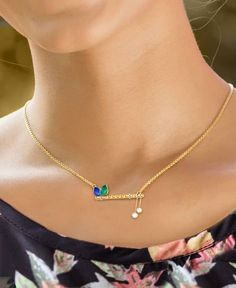 Jewelry OFF! Shine like the ocean with our Green Blue Enamel and Diamond Necklace. Gold Jewelry Simple, Dainty Gold Necklace, Trendy Jewelry, Fashion Jewelry, Diamond Necklaces, Simple Necklace, Indian Diamond Necklace, Diamond Jewelry, Jewelry Sets