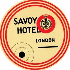 Vintage Hotel Luggage Label, Savoy Hotel, London, UK