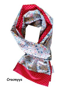 Foulard liberty adelajda orange et rouge à pois : Echarpe, foulard, cravate par crocmyys