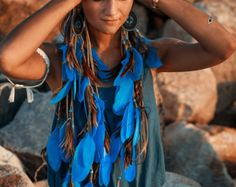 Handcrafted,headband,pastel,hairband,hairdress,braids,blue,feathers headpiece,boho style,boho chic,gypsy,hippie,native american