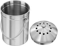 Utopia Kitchen Seau à compost en acier inoxydable pour comptoir de cuisine - 5 litres Seau à compost Seau de cuisine Compost avec couvercle - Comprend 1 filtre à charbon de rechange: Amazon.fr: Cuisine & Maison