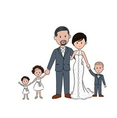 Save the Date, Custom Wedding Portrait, Custom Family Portrait, Wedding Invitation, with Kids or with Pet Doodle/ Cartoon Drawing