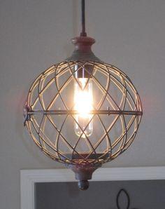 Rustic Metal Globe Pendant Light - distressed, rustic lighting, unique , farmhouse style, vintage, industrial light, kitchen light, pendant