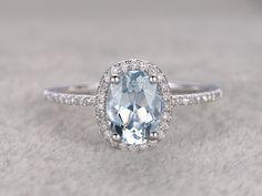 Natürlichen blauer Aquamarin-Ring Verlobungsring von popRing