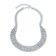 Bling Jewelry Plaqué argent modernes réglable cristal clair Choker Bib Necklace