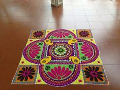 Mash kolam Rangoli Designs Latest, Rangoli Designs Diwali, Beautiful Rangoli Designs, Rangoli Ideas, Simple Rangoli, Rangoli Colours, Floor Art, Diwali Decorations, Art Sketches