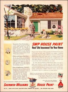 1954 Sherwin Williams House Paint Old Paint Ad 1950s Illustrated by GCR | eBay