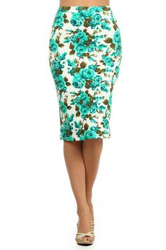 Floral print, high waisted, calf length, pencil skirt with an elasticized waist. MOMO MADE IN USA T'Rose