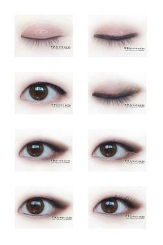 Uzzlang Makeup, Kawaii Makeup, Anime Makeup, Cosplay Makeup, Eye Makeup Tips, Kiss Makeup, Makeup Inspo, Monolid Eyeliner, Asian Makeup Monolid