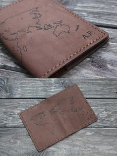 Handmade leather passport cover with personalization. We can engrave - initials - logo - text - pics Different covers models Worldwide free shipping! Leather Passport Wallet, Slim Wallet, Leather Wallet, Leather Notebook, Leather Journal, Leather Cover, Leather Men, Initials Logo, Passport Cover