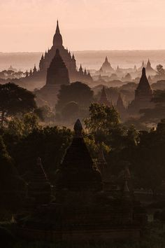 Silent witnesses...  Sunrise in Bagan, Myanmar. Made from one of the temples