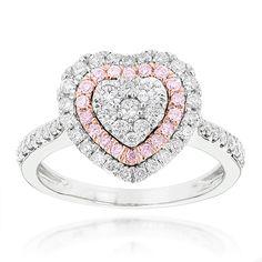 Diamantring Herz Pavee mit 1.00 Karat Diamanten aus 585er Weißgold. Ein…
