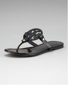 Miller Logo Flat Thong Sandal, Black by Tory Burch at Neiman Marcus.