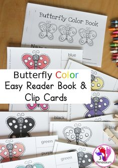 Free Butterfly Color Easy Reader Book & Clip Cards - a fun color easy reader book with a butterfly theme with matching color clip cards that works on 11 color words - 3Dinosaurs.com #colorprintables #freeprintables #colorwords #easyreaderbook #3dinosaurs #colorclipcards