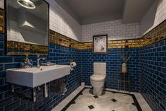 Contemporary bathroom using blue, white and gold subway wall tiles. All tiles supplied by TileStyle for this private residence in Dublin. Interior Design by Tonya Douglas of Little Design House. Quirky Bathroom, Hall Bathroom, Blue Subway Tile, Arch Interior, Interior Design, Room Tiles, Wall Tiles, Bathroom Tile Designs, Flooring Options