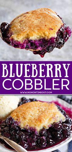 Blueberry Cobbler Recipes, Blueberry Desserts, Fruit Recipes, Desert Recipes, Baking Recipes, Blueberry Cobler, 13 Desserts, Delicious Desserts, Whipped Cream