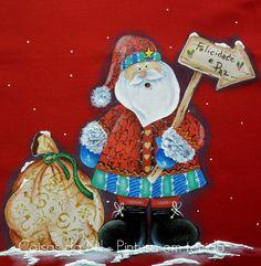 Coisas da Nil - Pintura em tecido: Um Papai Noel meio hippie.....