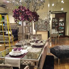 dinning room Stop in one of our stores to get inspired for fresh + elevated spring entertaining. Decoration Inspiration, Dining Room Inspiration, Decor Ideas, Dining Room Design, Dining Room Table, Dining Rooms, Dining Set, Table Violet, Home Interior